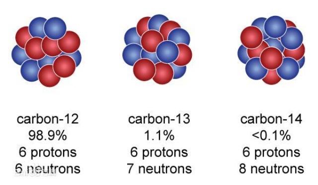 (注:carbon:碳;protons:质子数(图中红色球代表);neutrons:中子数(图中蓝色球代表))